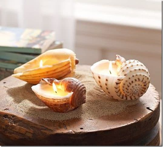 Candles and seashells