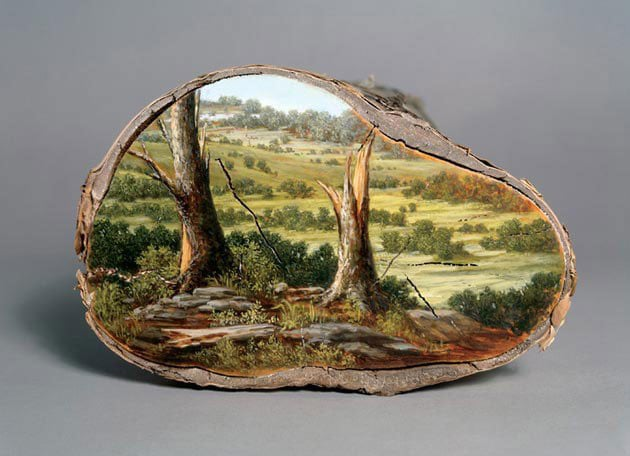 oil paintings on fallen logs by alison moritsugu