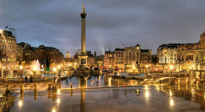 Trafalgar Square London At Night
