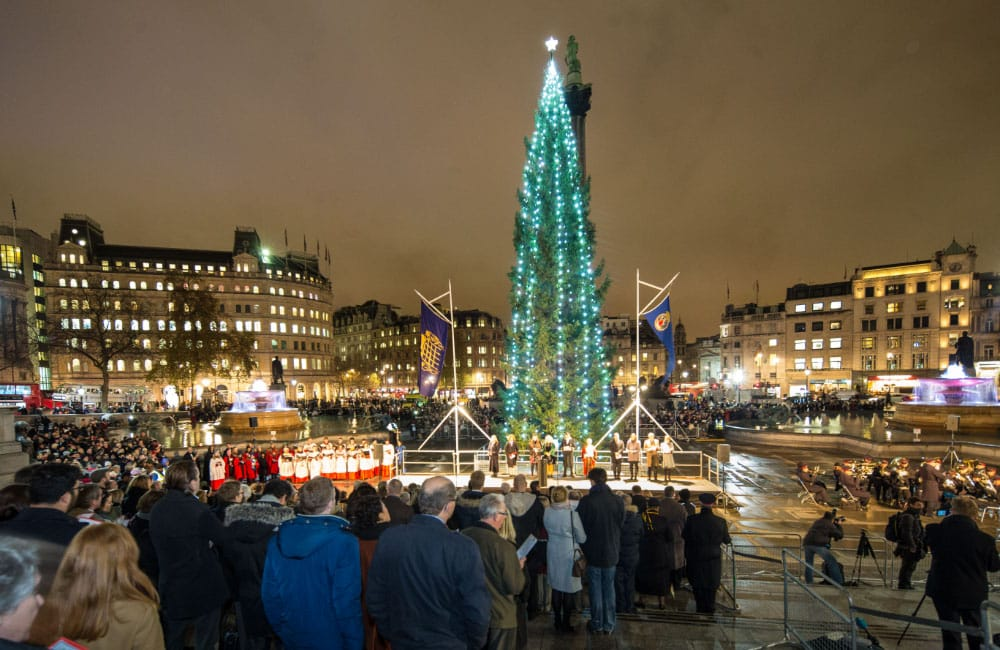 unique Christmas tree ceremony in the Trafalgar Square