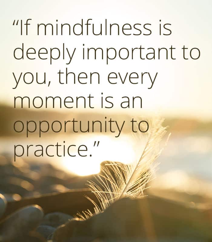 If mindfulness is deeply important to you, then every moment is an opportunity to practice.