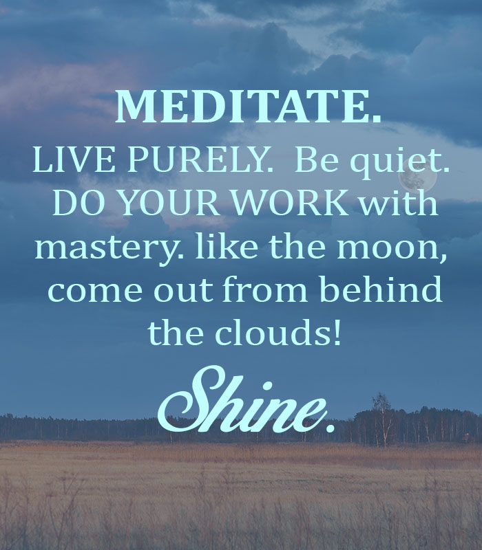 Meditate. Live purely. Be quiet. Do your work with mastery. like the moon, come out from behind the clouds!