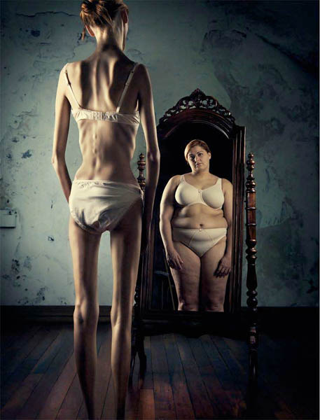 Anorexics look in the mirror and see a fat person