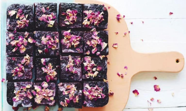Beet Brownies with Rose Petals