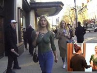 model walks down london body paint