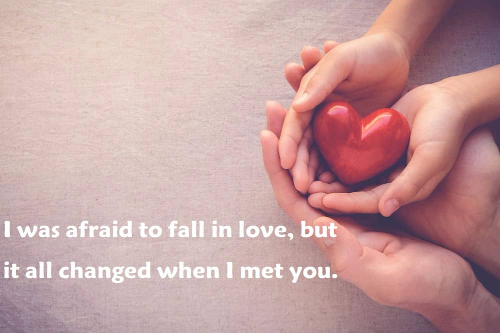 I was afraid to fall in love, but it all changed when I met you. - 100 Love Quotes To Share