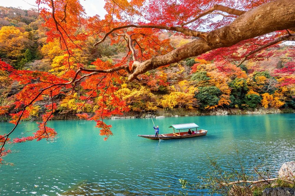 Kyoto, Japan Winter, Boatman punting the boat at a river. Arashiyama in autumn season along the river in Kyoto, Japan.