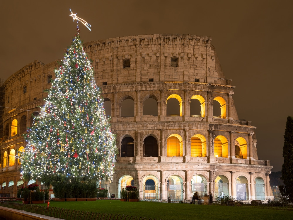 Rome, Italy, Christmas Tree in Colosseum square, Rome Italy