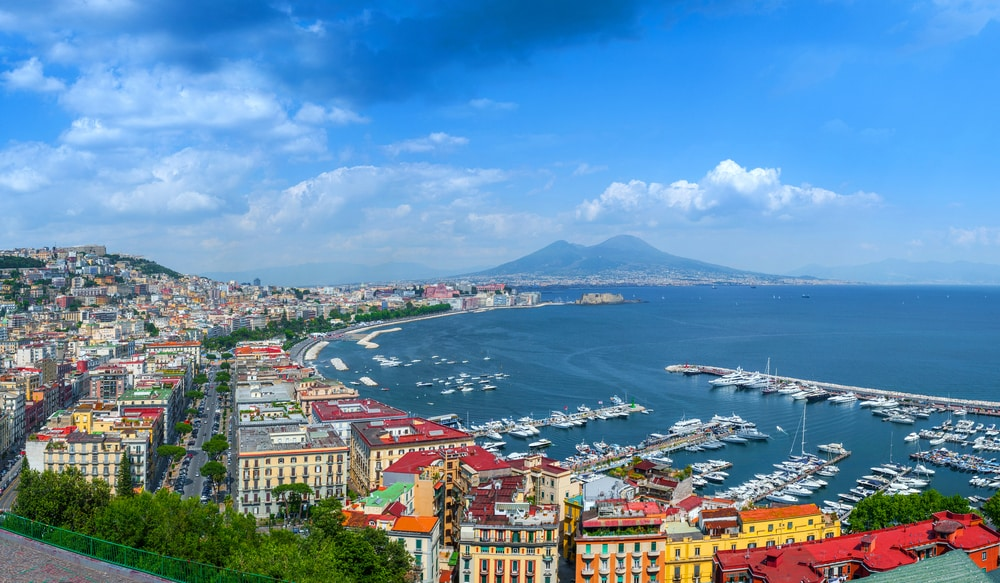 Gulf of Naples, Panorama of Naples, view of the port in the Gulf of Naples and Mount Vesuvius. The province of Campania. Italy.