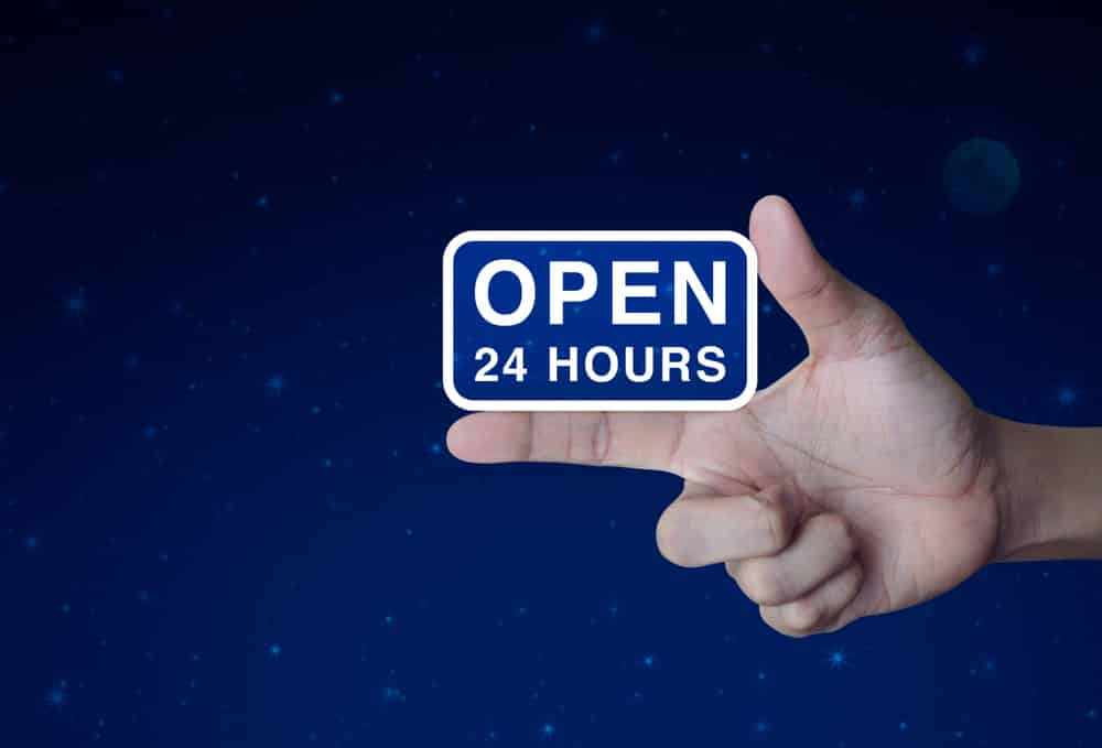 Most online shopping stores are available for 24 hours a day