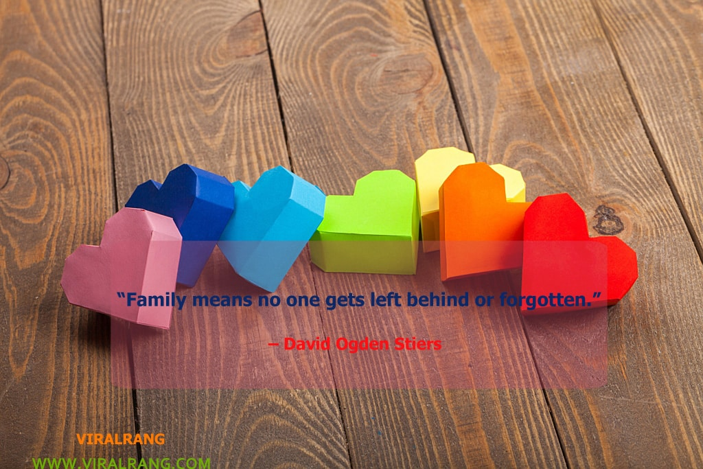 Family means no one gets left behind or forgotten. Inspirational Family Quotes
