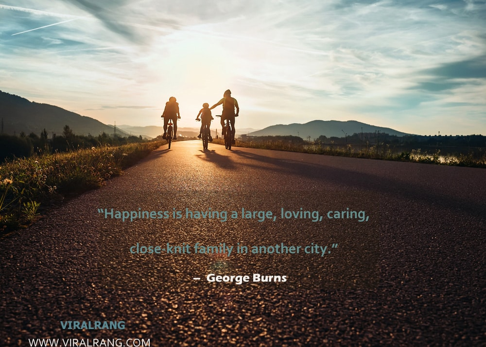 Happiness is having a large, loving, caring, close-knit family in another city. Inspirational Family Quotes