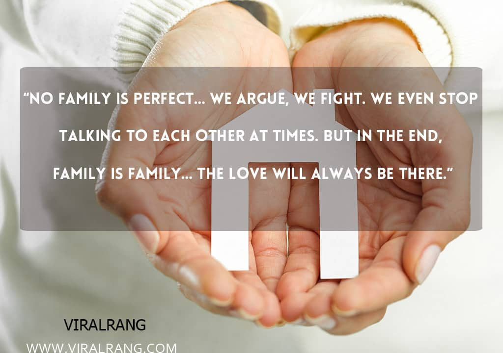 No family is perfect… we argue, we fight. We even stop talking to each other at times. But in the end, family is family… The love will always be there. Inspirational Family Quotes