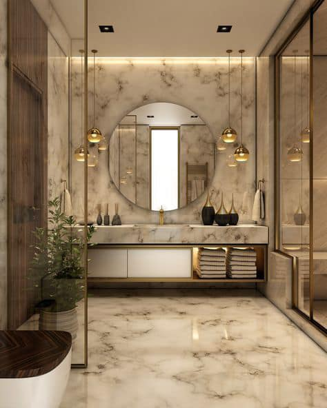 Lighting meant for a luxury bathroom must be dim, but sparkling enough to light the whole room