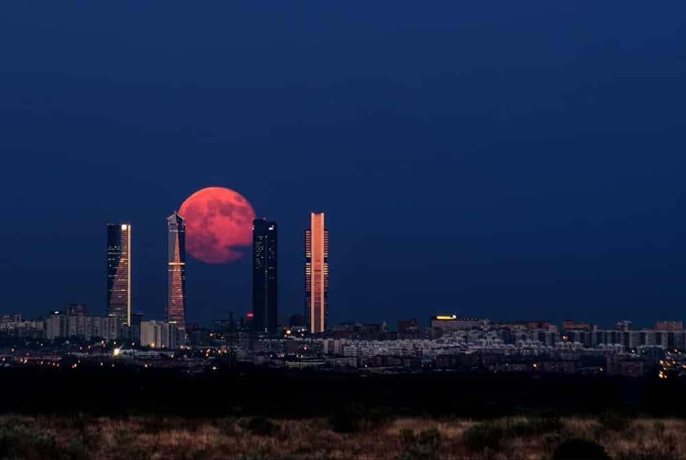 Moon Rising Above Madrid, Spain