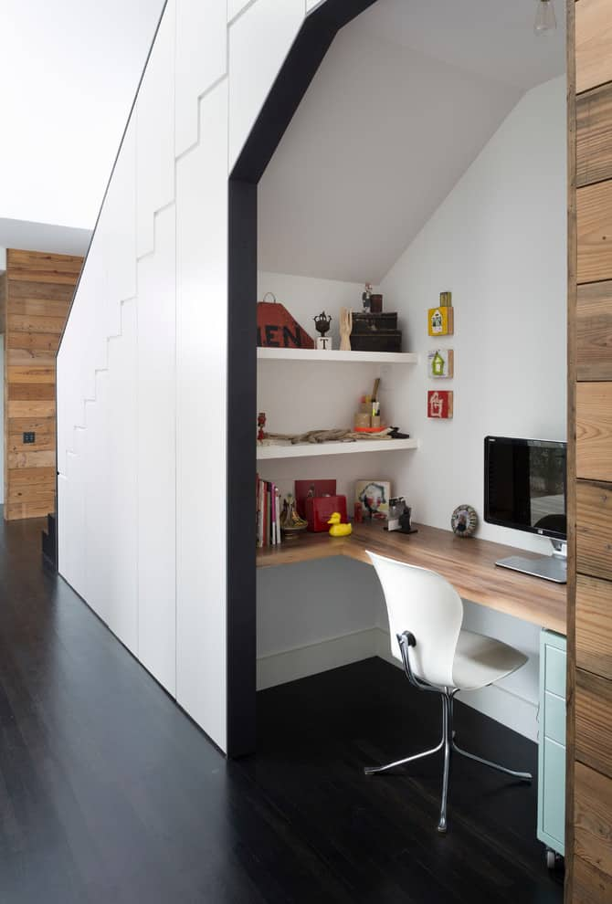 Home office under the stairs
