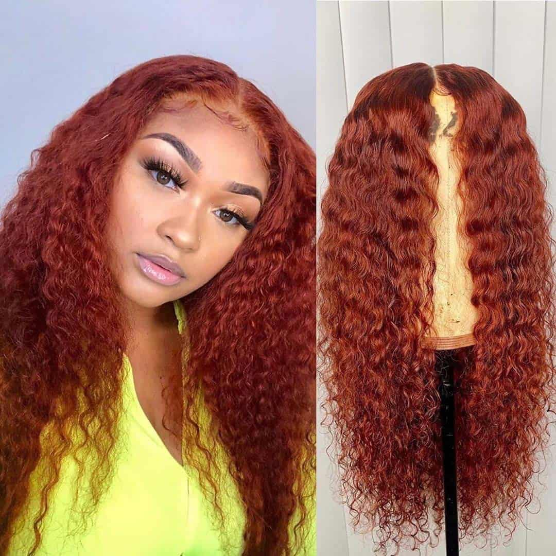 Full Lace Wig Orange Red Color Human Hair