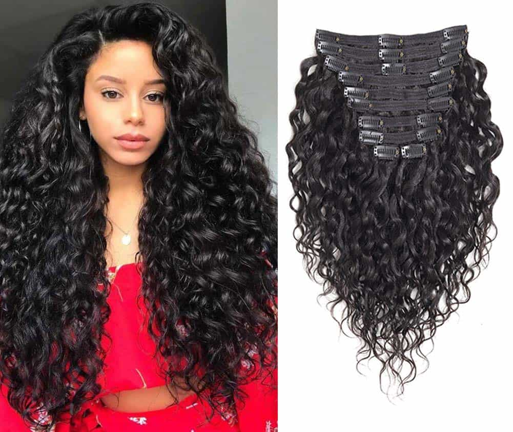 Natural Curly Clip in Human Hair Extensions