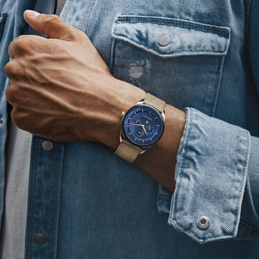 Venice Moonphase Blue Gold Mesh Watch
