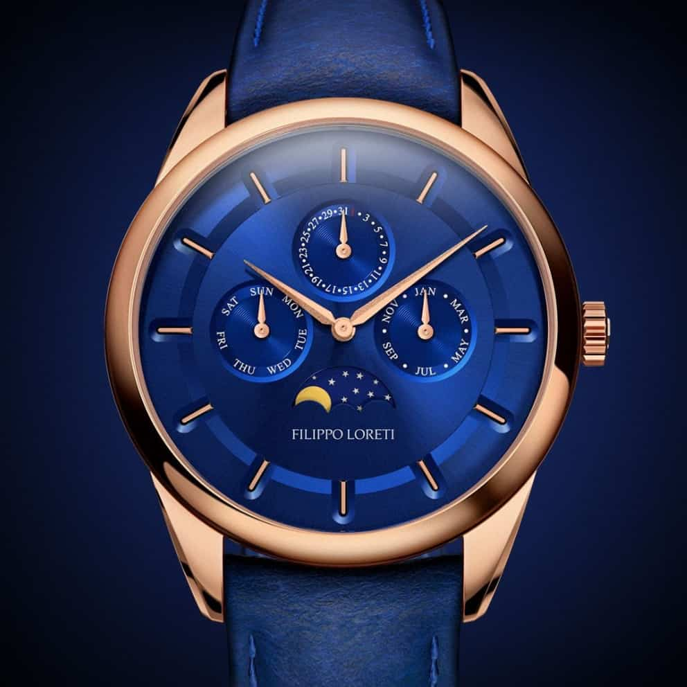 Venice Moonphase Rose Gold Blue Watch