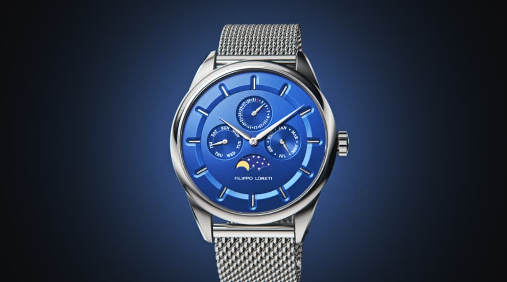 Venice Moonphase Silver Blue Mesh Watch