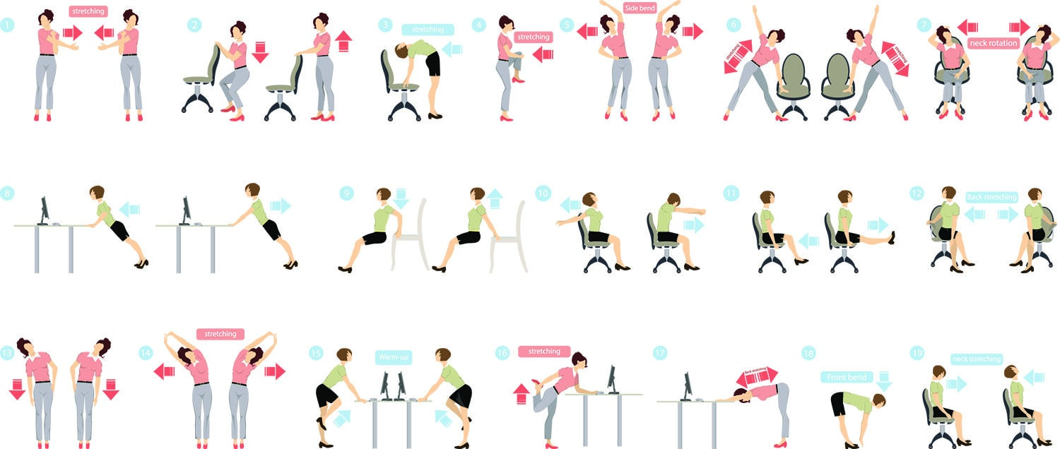 Sport exercises for office and regular exercises